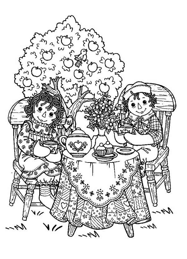 raggedy ann and andy tea party coloring page - Princess Tea Party Coloring Pages