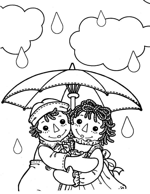 Raggedy Ann and Andy Under Umbrella in the Rain Coloring Page NetArt