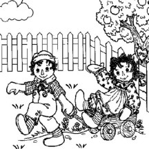 Raggedy Ann and Andy and Happy Meadow Coloring Page