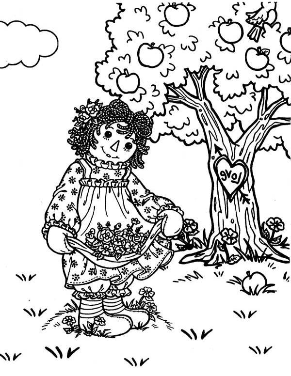 Raggedy Ann and Andy in the Deep Deep Woods Coloring Page NetArt