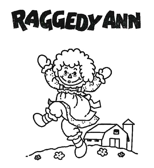 Raggedy Ann and Barn in Raggedy Ann and Andy Coloring Page NetArt