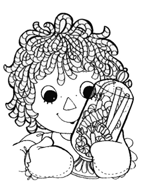 Raggedy ann and jar full of candy in raggedy ann and andy for Raggedy ann and andy coloring pages