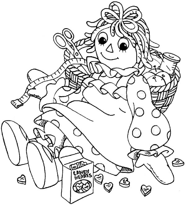 Raggedy Ann and Sewing Kit in Raggedy Ann and Andy Coloring Page