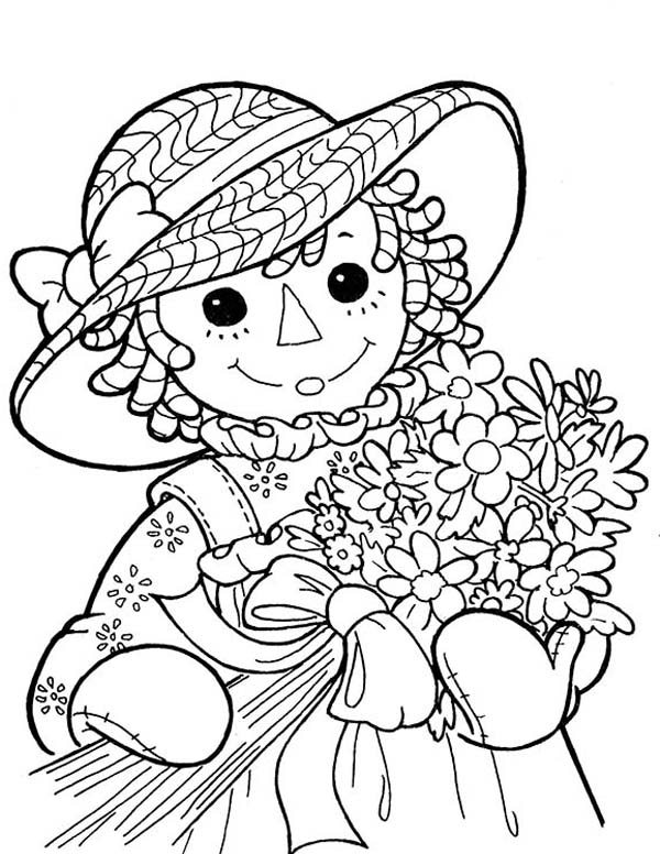 Raggedy Ann and a Bouquet of Flower in Raggedy Ann and Andy