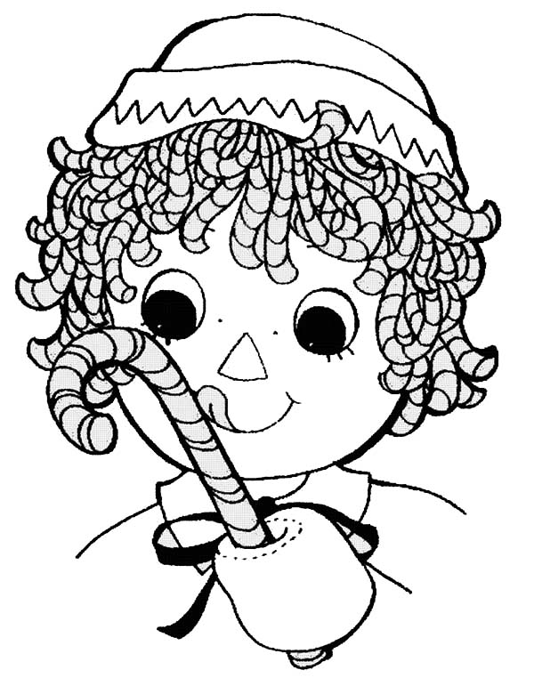 Raggedy ann with sweet candy cane in raggedy ann and andy for Raggedy ann and andy coloring pages