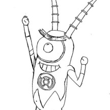 Robot Plankton Coloring Page