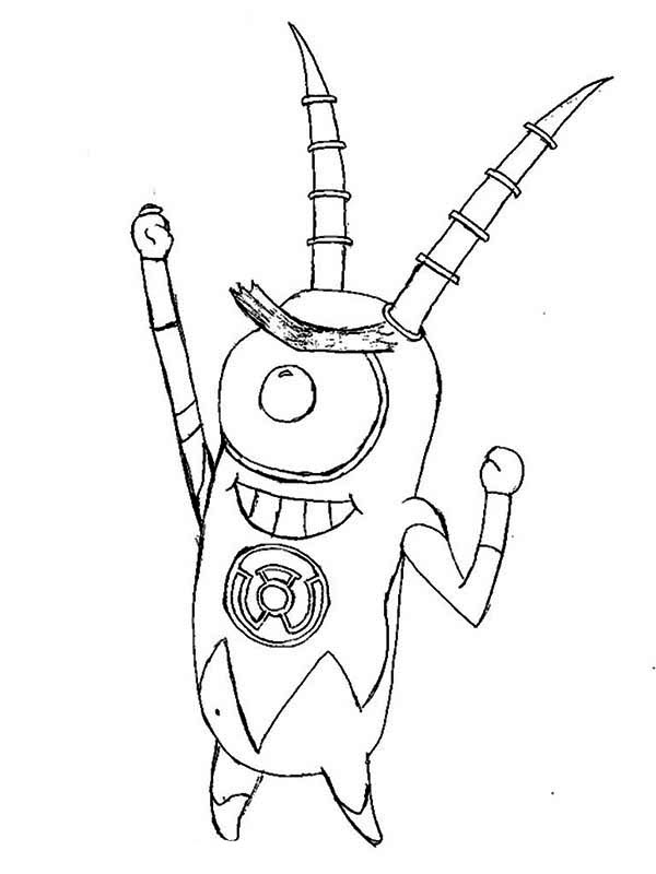 Sheldon J Plankton Spongebob Robot Coloring Pages