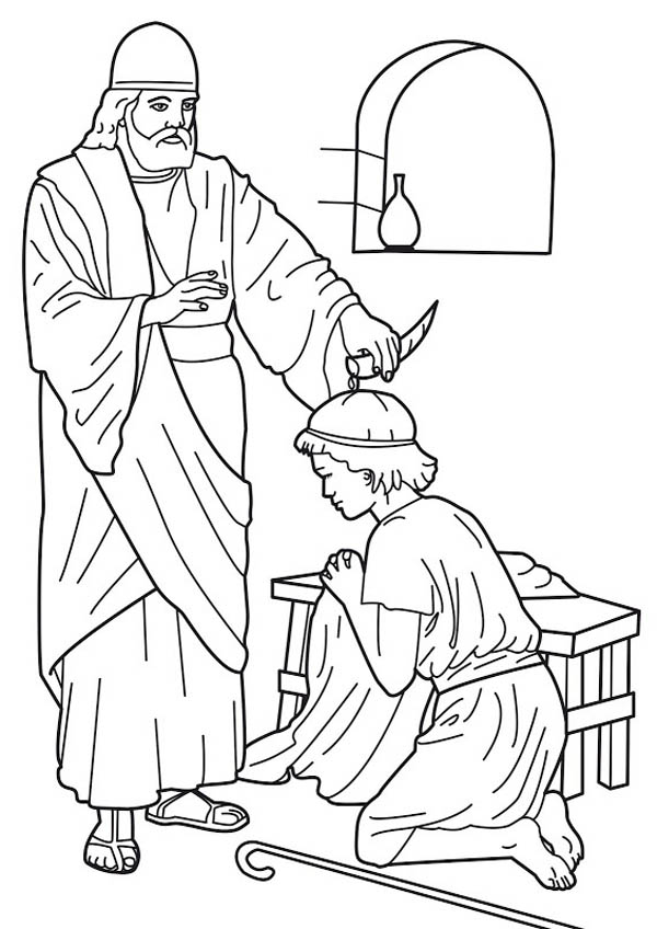 Samuel Anointed Saul As King Coloring Page