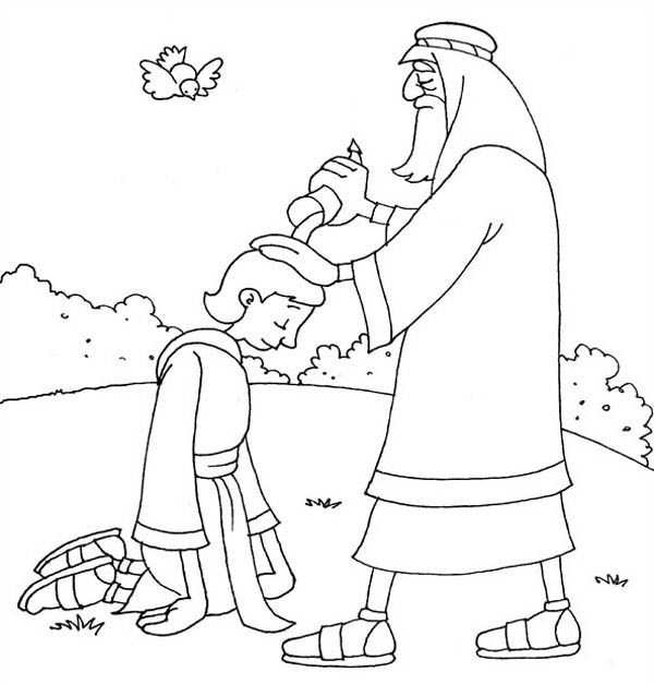 Samuel Anointing David in the Story of King Saul Coloring Page NetArt
