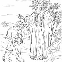 Samuel Anoiting Saul as King in King Saul Coloring Page