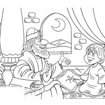 Samuel and Little Saul in the Story of King Saul Coloring Page