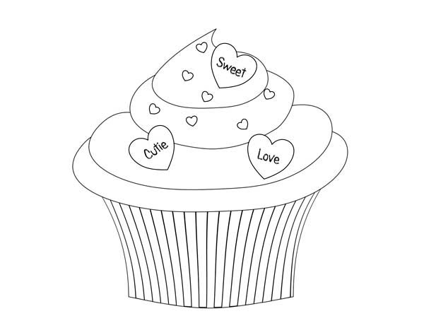 Say it with Cupcake Coloring Page NetArt