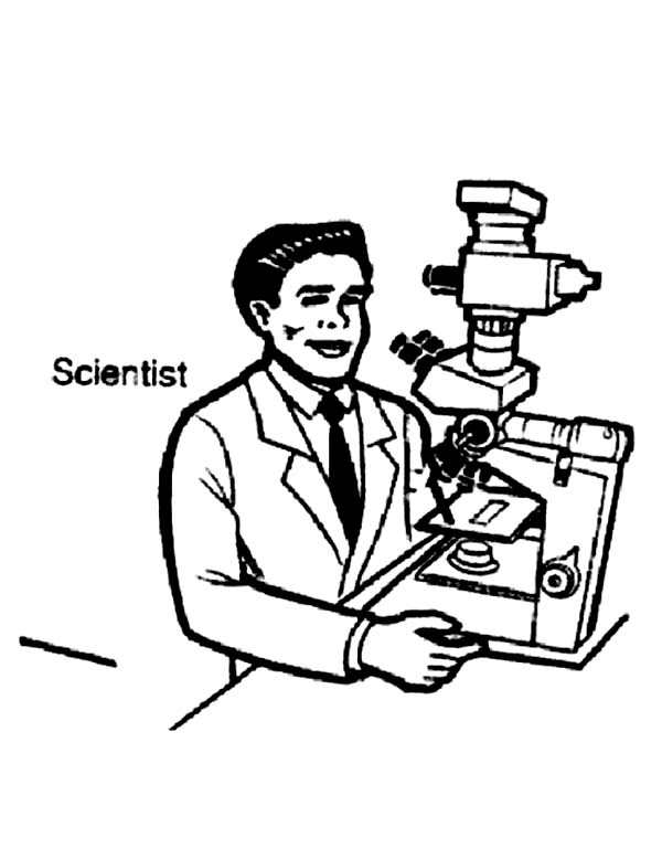 Scientist on Microscope in Community Helpers Coloring Page - NetArt