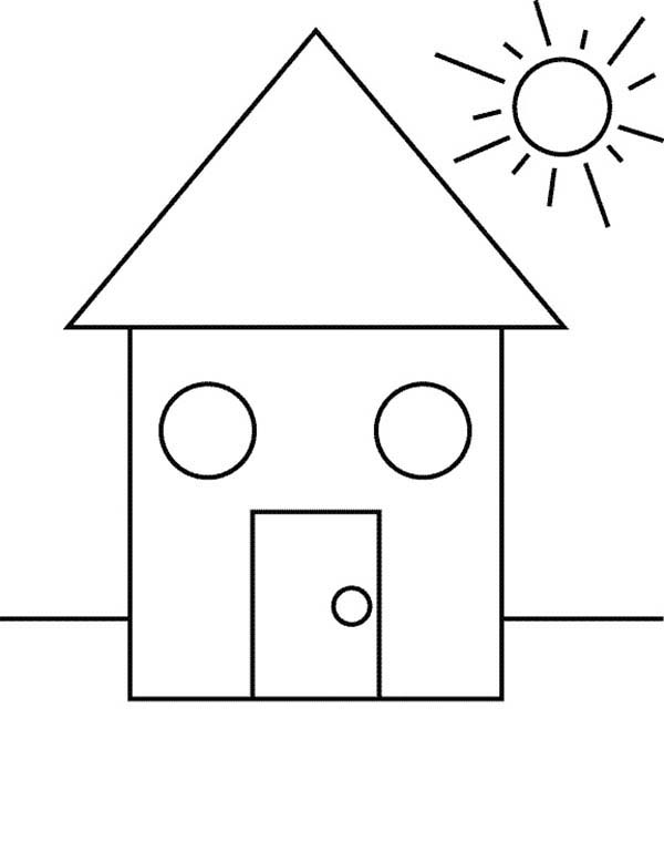 Shapes of House Under the Sun Coloring Page - NetArt