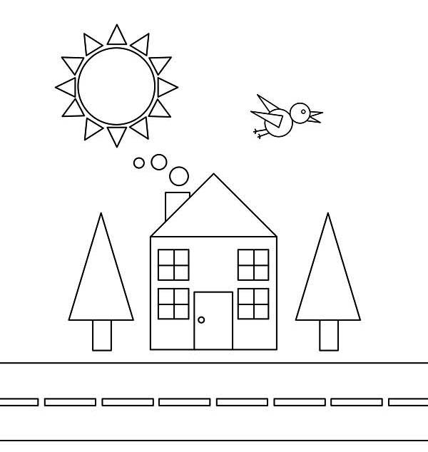 Shapes of House and Bird with Trees and the Sun Coloring Page - NetArt
