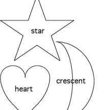 Shapes of Star and Heart and Crescent Coloring Page