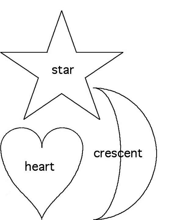 heart and star coloring pages | Shapes of Star and Heart and Crescent Coloring Page - NetArt