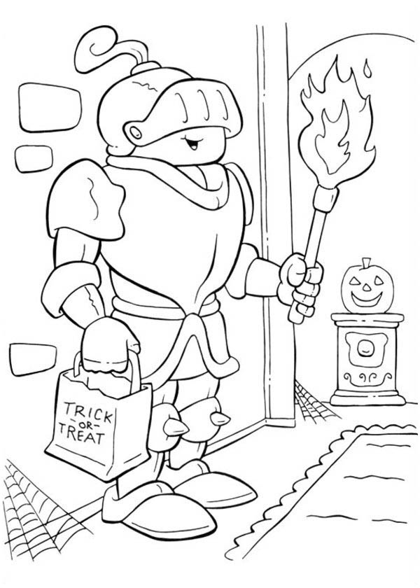 Shining Armored Knight in Funschool Halloween Coloring Page