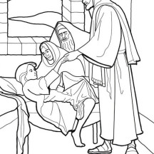 Sick Girl Who Healed by Miracles of Jesus Coloring Page