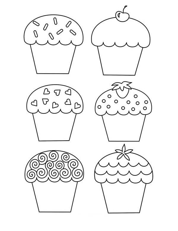 six tasty cupcake coloring page - Cupcakes Coloring Pages