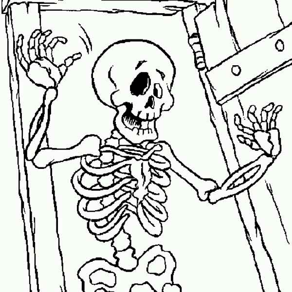 Skeleton Appear From Front Door Coloring Page