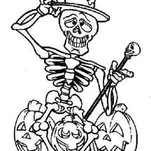 Skeleton and Three Halloween Pumpkin Coloring Page