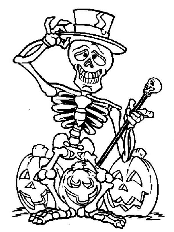 skeleton and three halloween pumpkin coloring page - Halloween Skeleton Coloring Pages