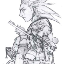 Sketch of Sora and Friends Coloring Page