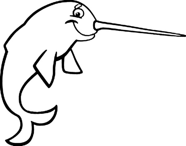 narwhal coloring pages - cartoon narwhal