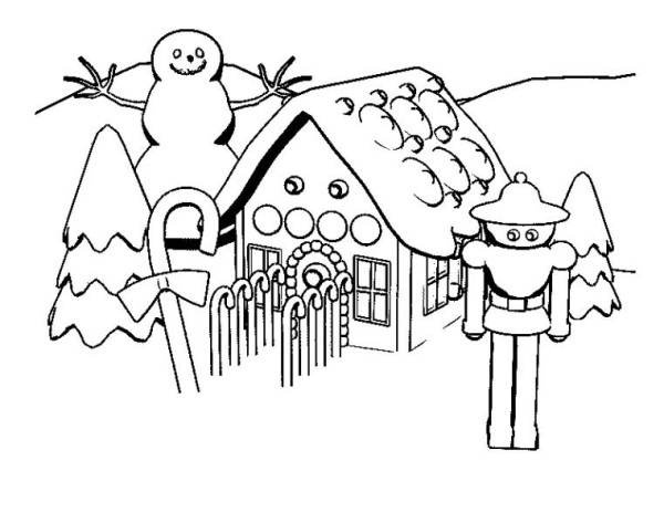 Snow Gingerbread House and Robot Coloring Page