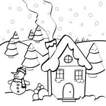 Snow Man and Gingerbread House Coloring Page