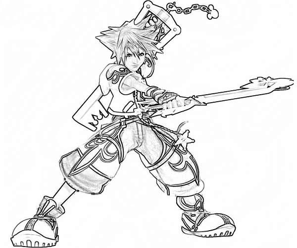 Sora Fighting Skills Coloring Page NetArt
