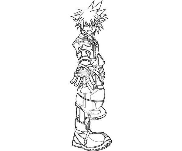 Sora Journey Begin from Destiny Islands Coloring Page