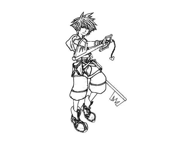 Sora Travelling to Disney World Coloring Page