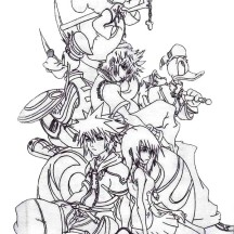 Sora and Friends at Kingdom Hearts 2 Coloring Page