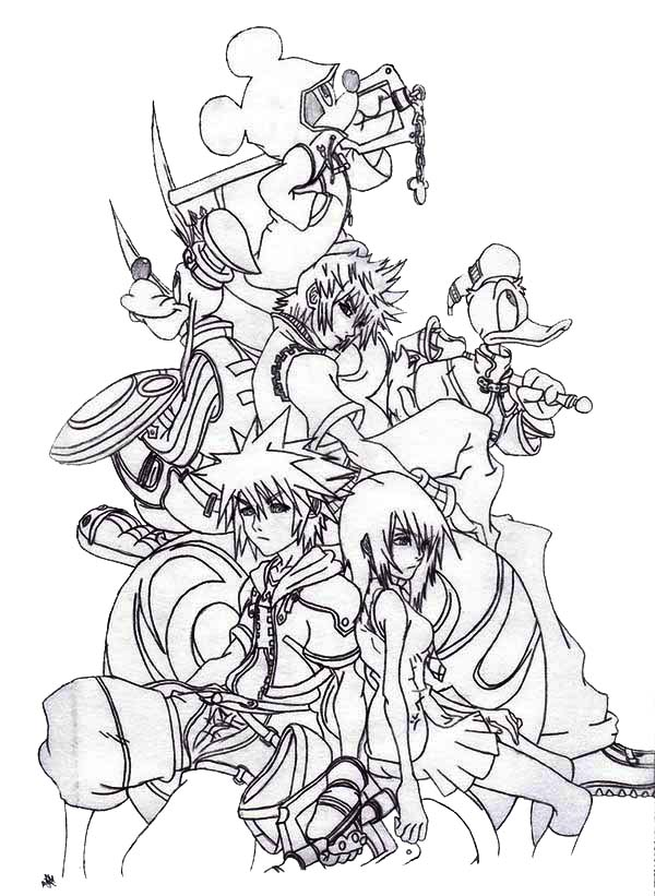 sora and friends at kingdom hearts 2 coloring page - Coloring Pages Hearts 2