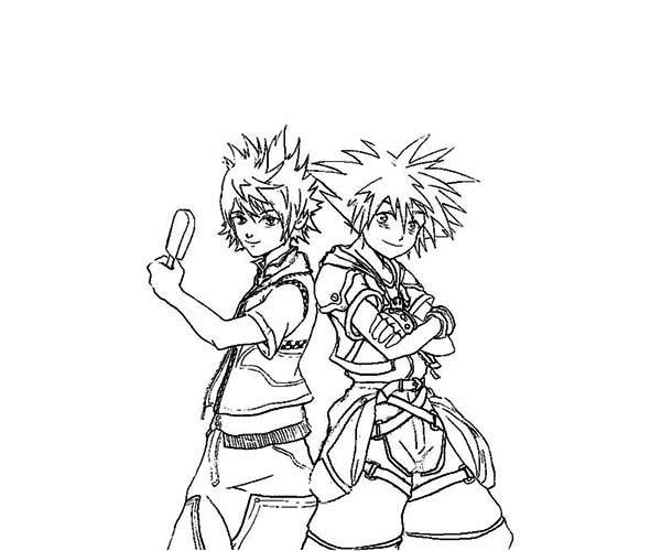 sora and riku from kingdom hearts coloring page - Kingdom Hearts Coloring Pages