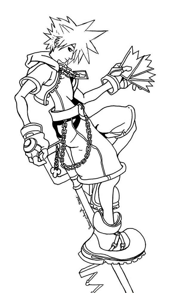 sora from kingdom hearts coloring page - Heart Coloring Pages Print