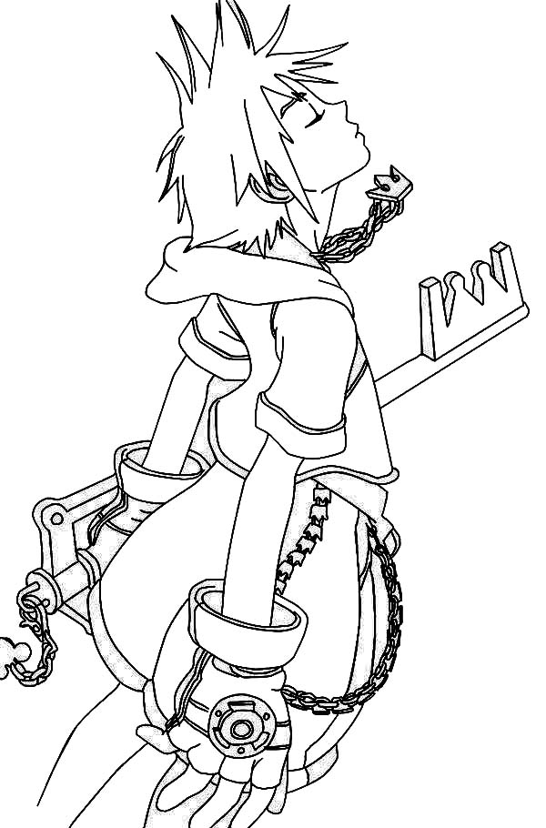 Sora with Keyblade to Eliminate Heartless Coloring Page