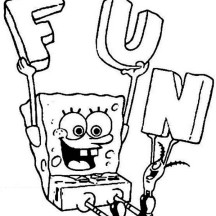 SpongeBob and Plankton Have Fun Together Coloring Page