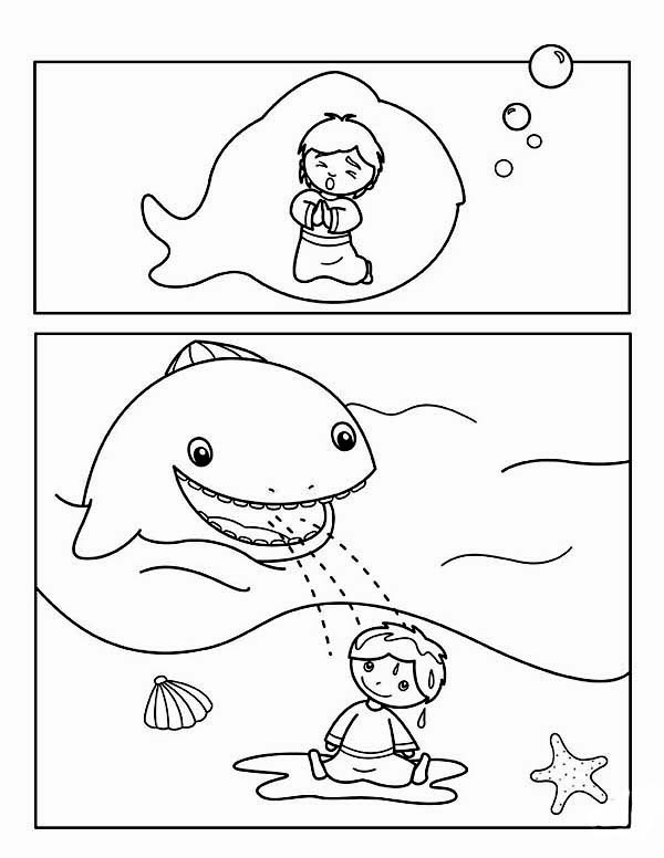 story jonah and the whale for kids coloring page - netart - Jonah Whale Coloring Page