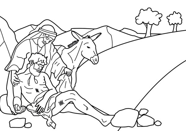 Story Of Good Samaritan Coloring Page