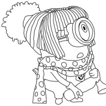 Stuart Disguising as a Girl in Despicable Me Coloring Page