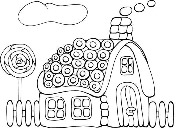 Tasty Cookie Gingerbread House Coloring Page - NetArt