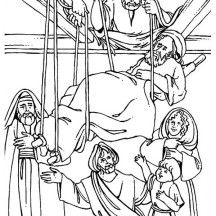 The Healing of the Paralityc is Miracles of Jesus Coloring Page
