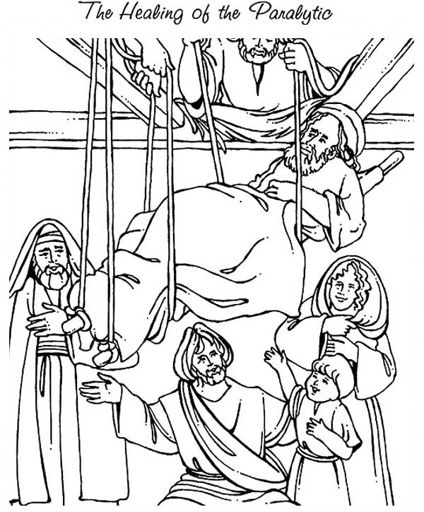 The Healing of the Paralityc is Miracles of Jesus Coloring Page ...