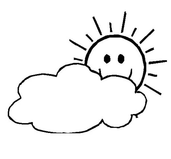 the sun is shy and hide behind the clouds coloring page