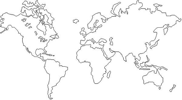 The world map coloring page