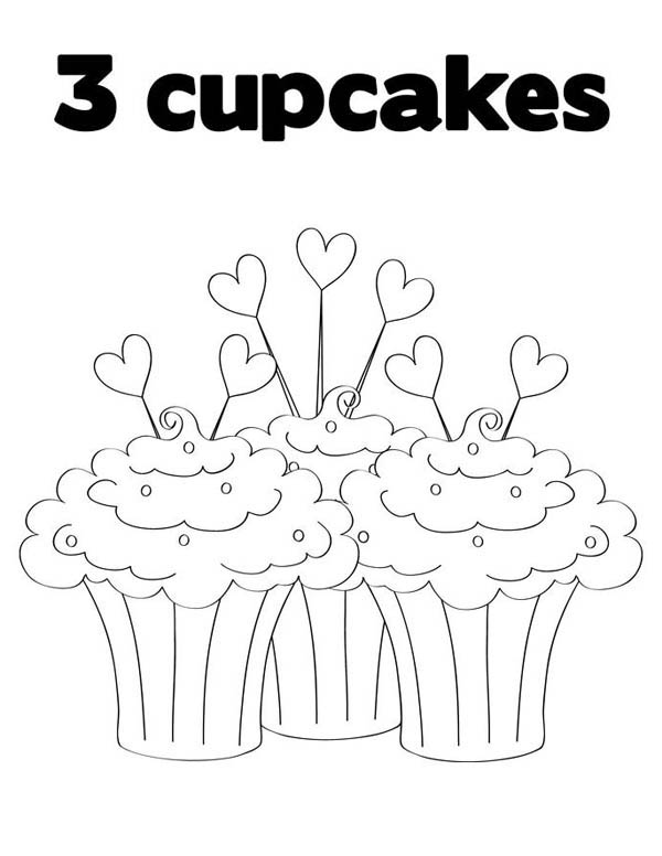 Three Full of Love Cupcake Coloring Page
