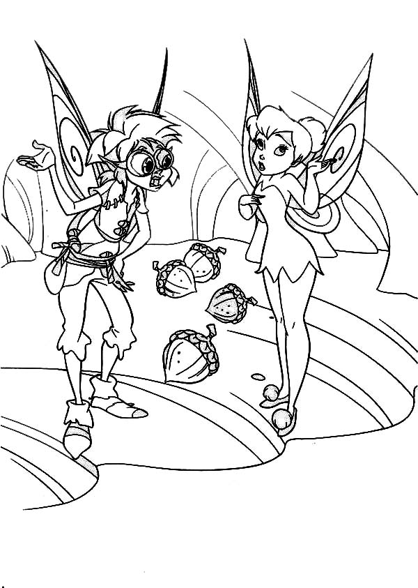 Tinkerbell Want Some Peanut in Pixie Coloring Page